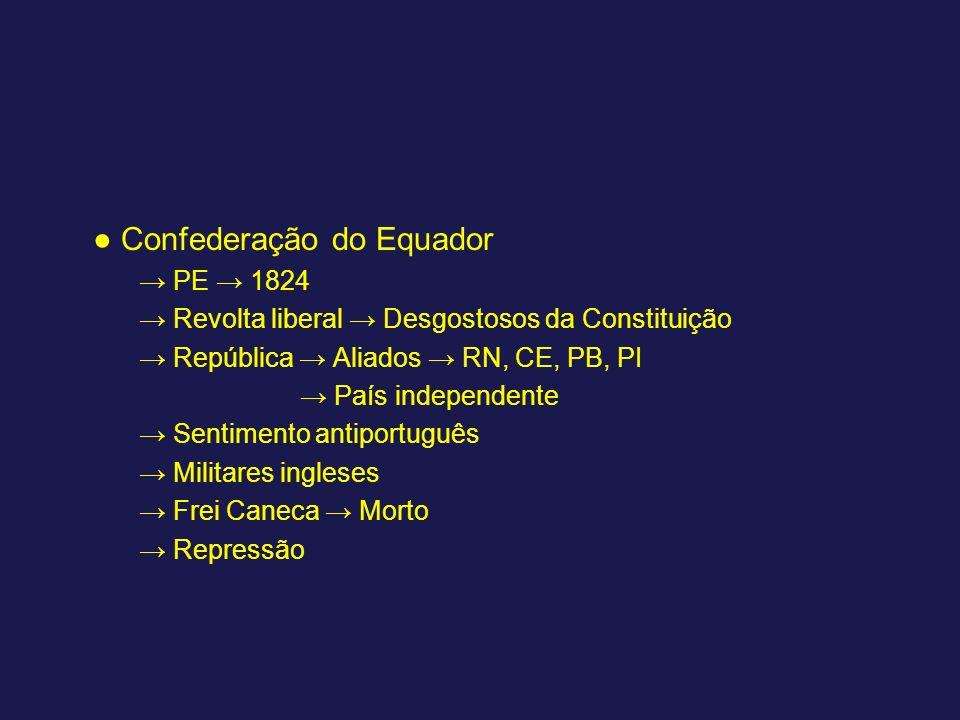 Confederação do Equador PE 1824 Revolta liberal Desgostosos da Constituição República Aliados RN, CE, PB, PI País independente Sentimento antiportuguê
