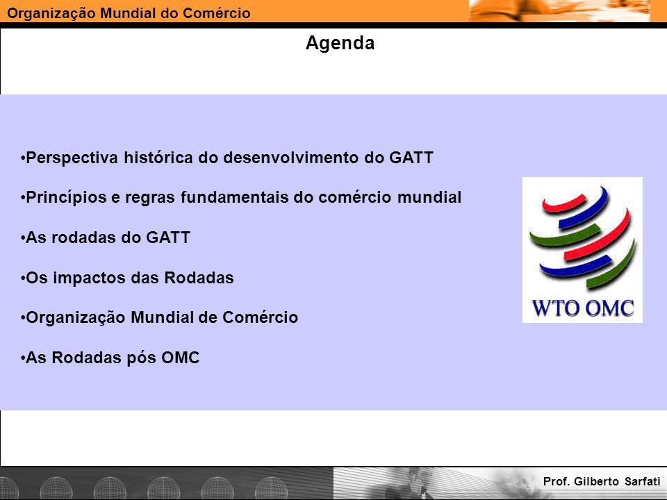 Organização Mundial do Comércio Agenda Perspectiva histórica do desenvolvimento do GATT Princípios e regras fundamentais do comércio mundial As rodada