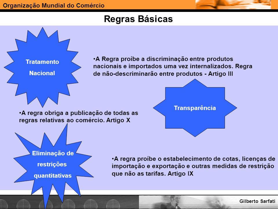 Organização Mundial do Comércio www.e-deliver.com.brGilberto Sarfati Regras Básicas Tratamento Nacional A Regra proíbe a discriminação entre produtos