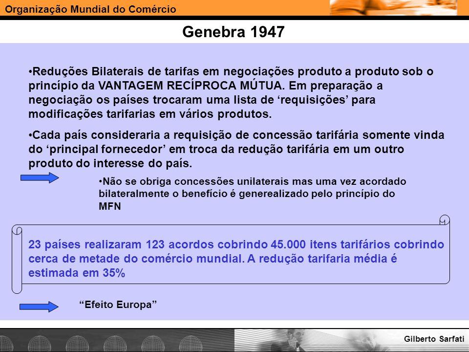 Organização Mundial do Comércio www.e-deliver.com.brGilberto Sarfati Genebra 1947 Reduções Bilaterais de tarifas em negociações produto a produto sob