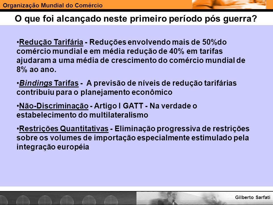 Organização Mundial do Comércio www.e-deliver.com.brGilberto Sarfati O que foi alcançado neste primeiro período pós guerra? Redução Tarifária - Reduçõ