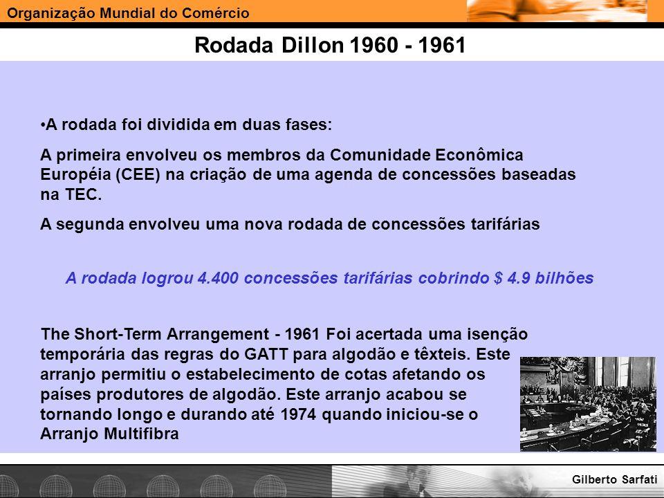 Organização Mundial do Comércio www.e-deliver.com.brGilberto Sarfati Rodada Dillon 1960 - 1961 The Short-Term Arrangement - 1961 Foi acertada uma isen