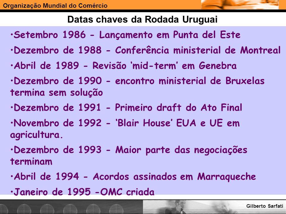 Organização Mundial do Comércio www.e-deliver.com.brGilberto Sarfati Datas chaves da Rodada Uruguai Setembro 1986 - Lançamento em Punta del Este Dezem
