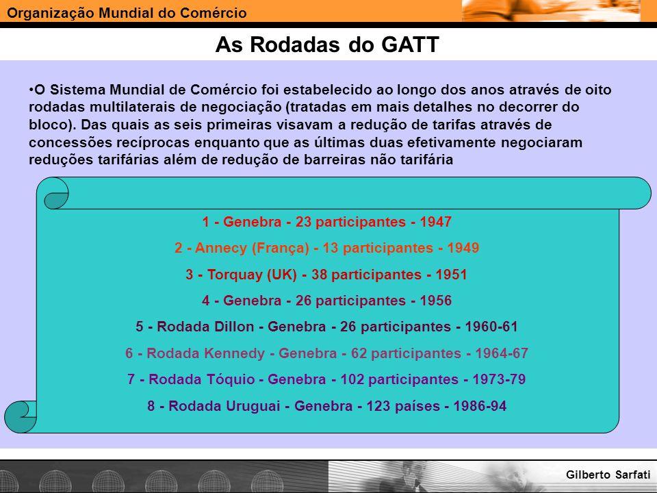 Organização Mundial do Comércio www.e-deliver.com.brGilberto Sarfati As Rodadas do GATT O Sistema Mundial de Comércio foi estabelecido ao longo dos an