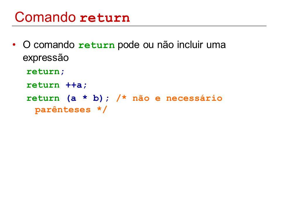 Comando return O comando return pode ou não incluir uma expressão return; return ++a; return (a * b); /* não e necessário parênteses */
