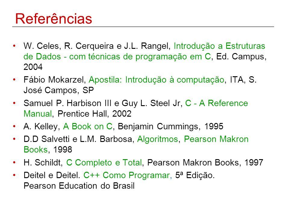 Referências W. Celes, R. Cerqueira e J.L. Rangel, Introdução a Estruturas de Dados - com técnicas de programação em C, Ed. Campus, 2004 Fábio Mokarzel