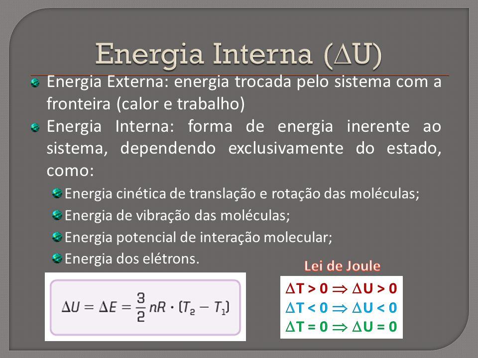 Energia Externa: energia trocada pelo sistema com a fronteira (calor e trabalho) Energia Interna: forma de energia inerente ao sistema, dependendo exc