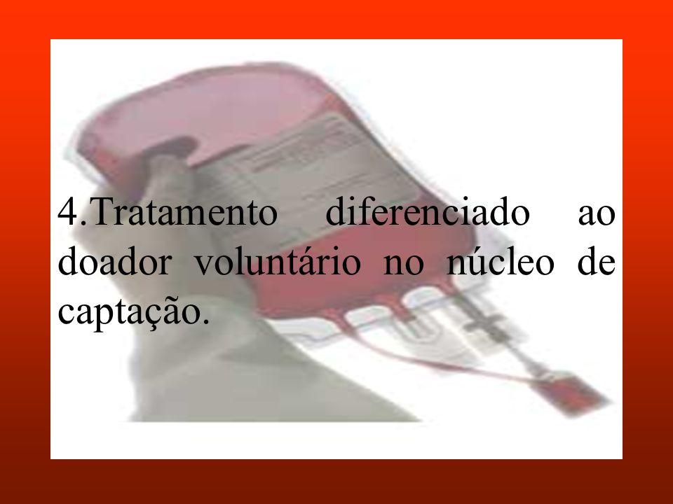 4.Tratamento diferenciado ao doador voluntário no núcleo de captação.