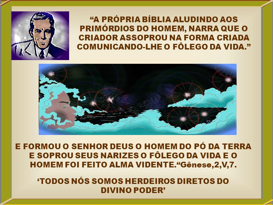 A PRÓPRIA BÍBLIA ALUDINDO AOS PRIMÓRDIOS DO HOMEM, NARRA QUE O CRIADOR ASSOPROU NA FORMA CRIADA COMUNICANDO-LHE O FÔLEGO DA VIDA. E FORMOU O SENHOR DE