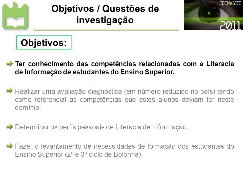 Objetivos / Questões de investigação Ter conhecimento das competências relacionadas com a Literacia de Informação de estudantes do Ensino Superior. Re