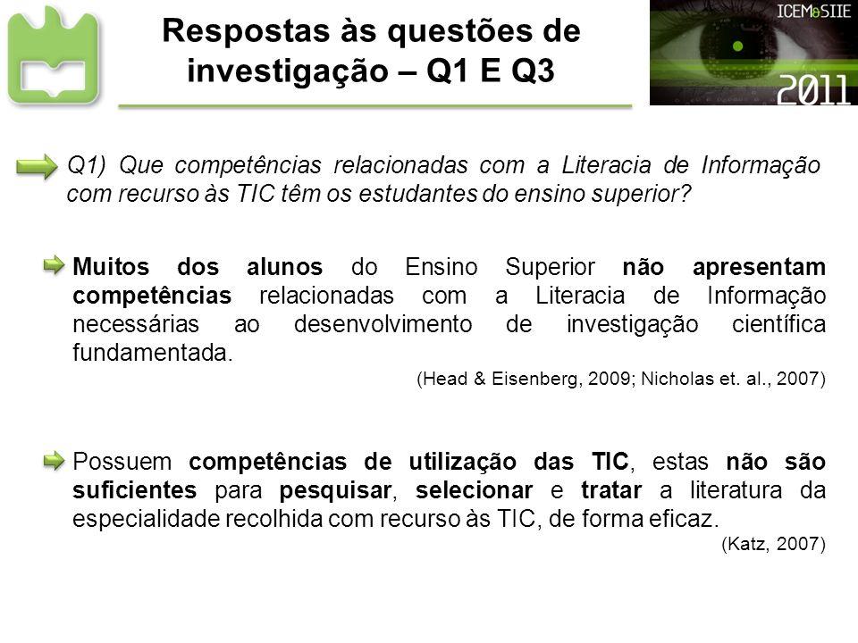 Respostas às questões de investigação – Q1 E Q3 Muitos dos alunos do Ensino Superior não apresentam competências relacionadas com a Literacia de Infor