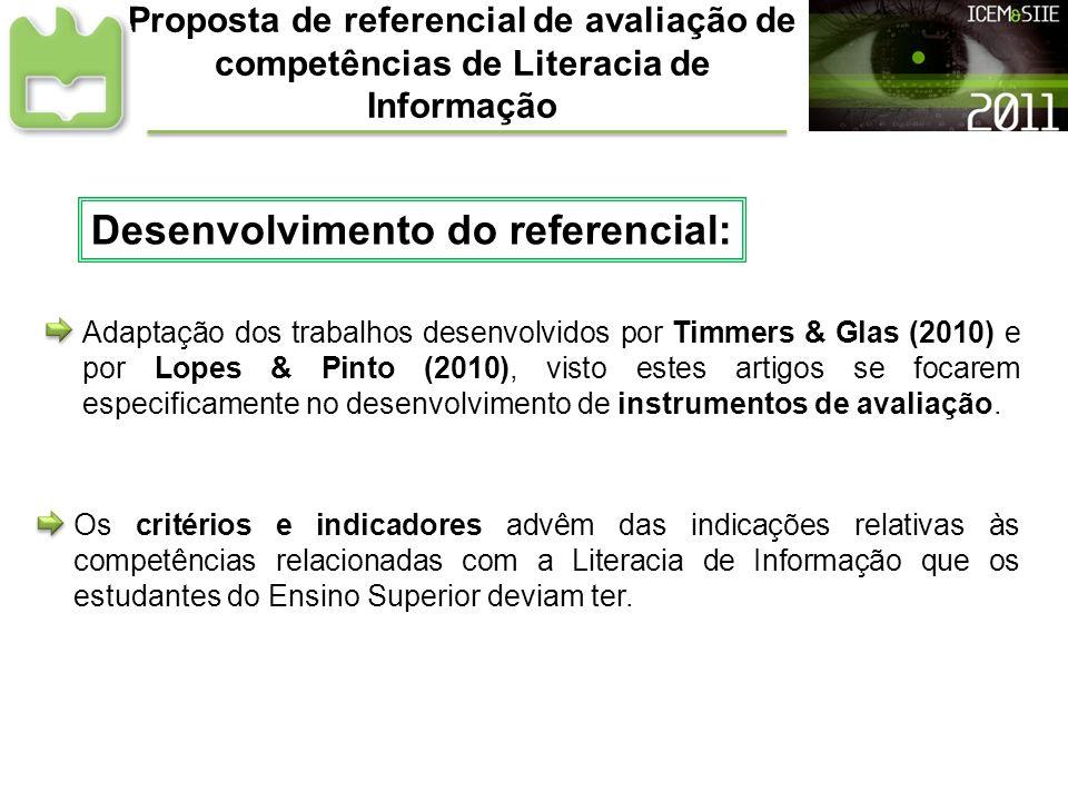 Proposta de referencial de avaliação de competências de Literacia de Informação Desenvolvimento do referencial: Adaptação dos trabalhos desenvolvidos