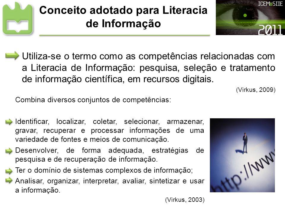 Conceito adotado para Literacia de Informação Utiliza-se o termo como as competências relacionadas com a Literacia de Informação: pesquisa, seleção e