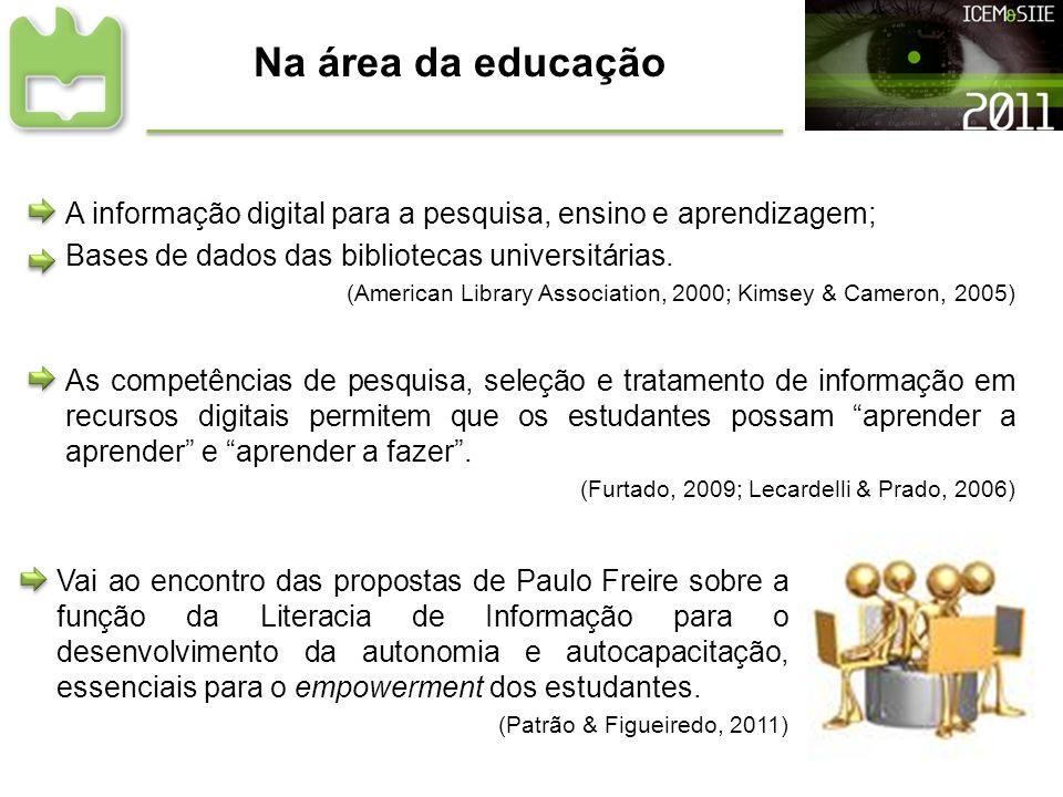Na área da educação A informação digital para a pesquisa, ensino e aprendizagem; Bases de dados das bibliotecas universitárias. (American Library Asso