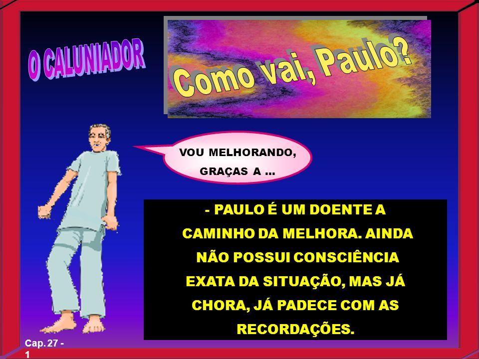 Cap. 27 - 1 VOU MELHORANDO, GRAÇAS A... - PAULO É UM DOENTE A CAMINHO DA MELHORA. AINDA NÃO POSSUI CONSCIÊNCIA EXATA DA SITUAÇÃO, MAS JÁ CHORA, JÁ PAD
