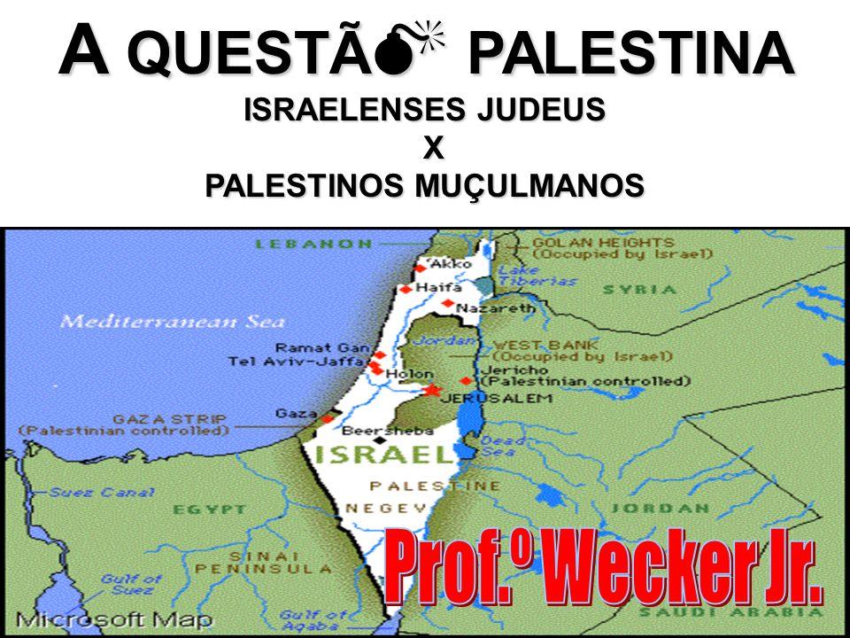 1967 - Guerra dos Seis Dias - tendo como pretexto uma possível ameaça de ataque árabe/muçulmana ao seu território, Israel invade e ocupa os seguintes territórios: Península do Sinai e Faixa de Gaza (Egito); Colinas de Golã (Síria); Cisjordânia e Jerusalém Oriental (Jordânia).