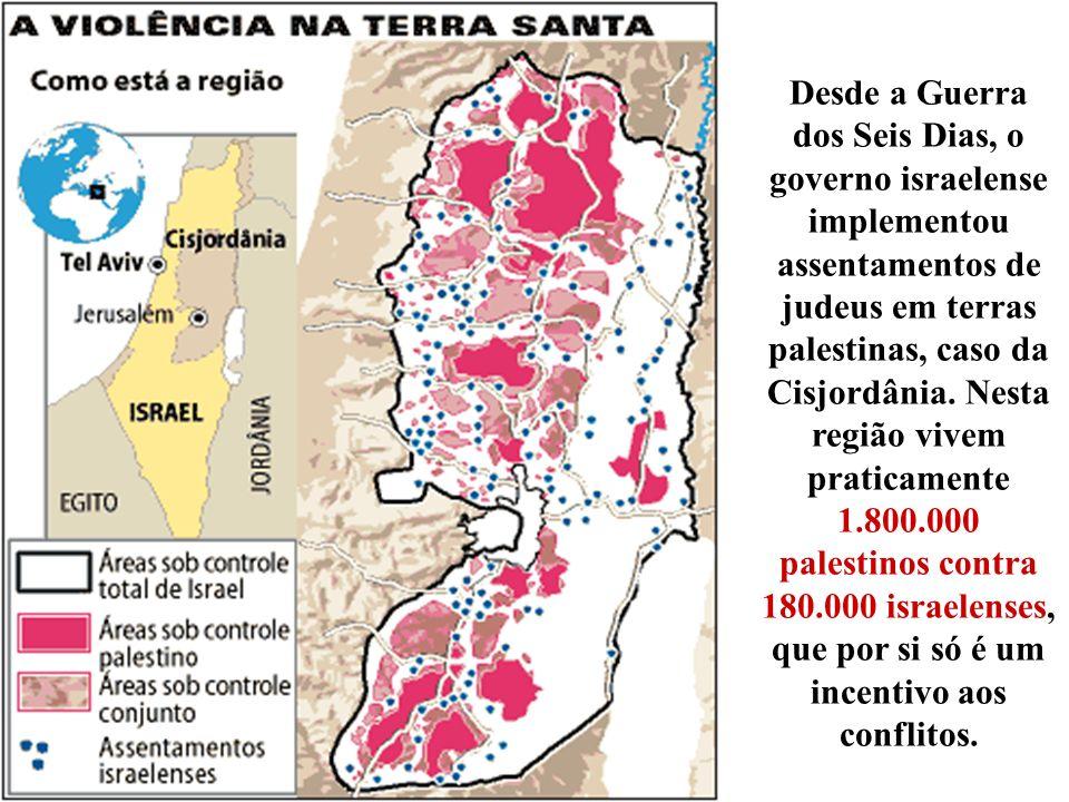 Desde a Guerra dos Seis Dias, o governo israelense implementou assentamentos de judeus em terras palestinas, caso da Cisjordânia. Nesta região vivem p