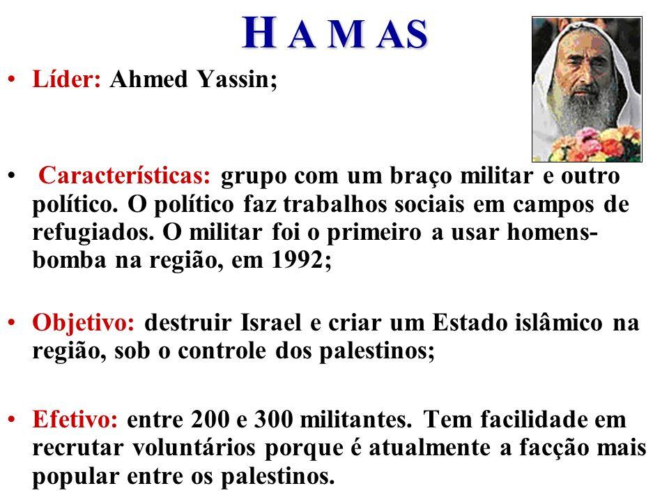 H A M AS Líder: Ahmed Yassin; Características: grupo com um braço militar e outro político. O político faz trabalhos sociais em campos de refugiados.