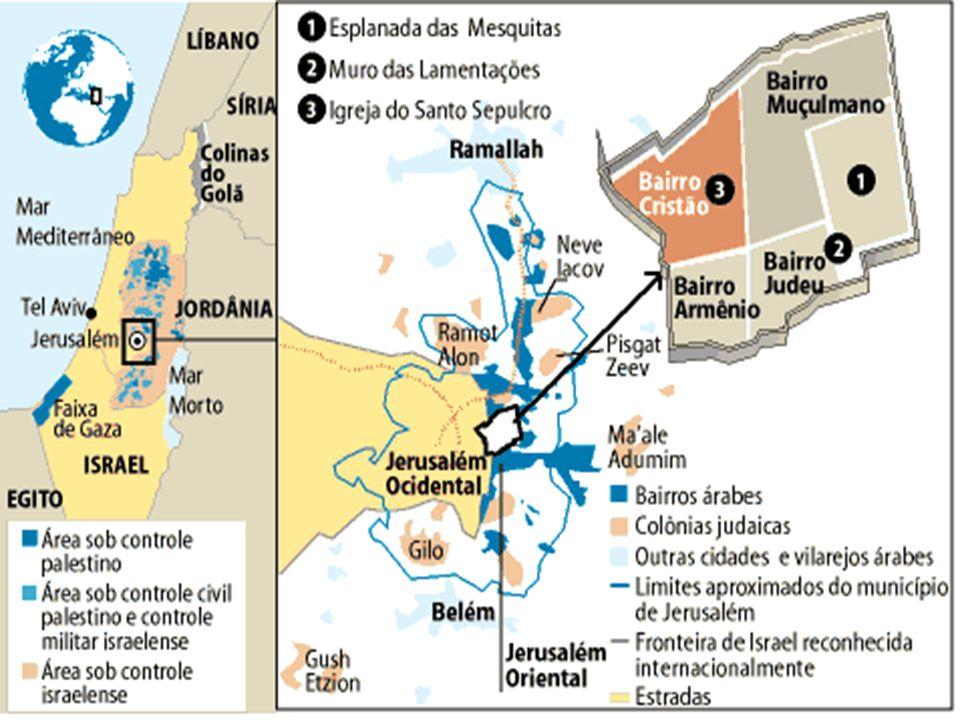 As ruínas do Muro das Lamentações - segundo Templo de Jerusalém, de cerca de 200 A.C., destruído pelos romanos em 70 d.C.