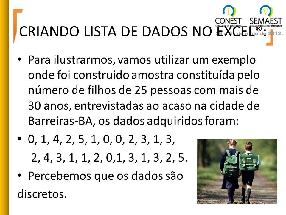 CRIANDO LISTA DE DADOS NO EXCEL®: Para ilustrarmos, vamos utilizar um exemplo onde foi construido amostra constituída pelo número de filhos de 25 pess