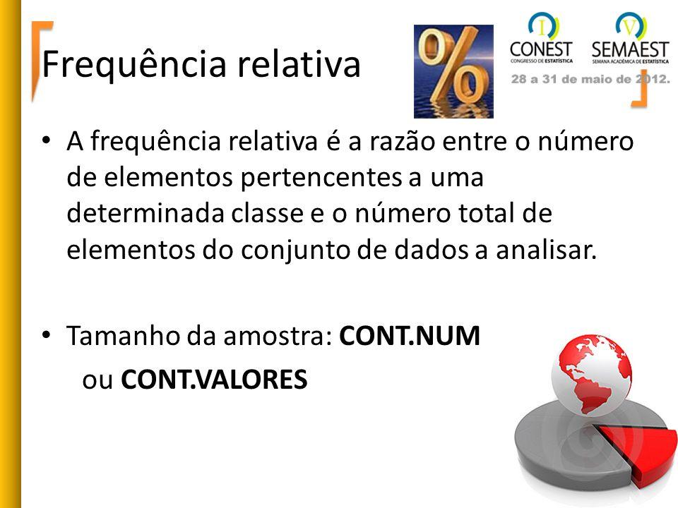Frequência relativa A frequência relativa é a razão entre o número de elementos pertencentes a uma determinada classe e o número total de elementos do