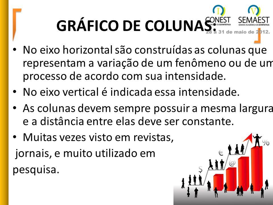 GRÁFICO DE COLUNAS: No eixo horizontal são construídas as colunas que representam a variação de um fenômeno ou de um processo de acordo com sua intens