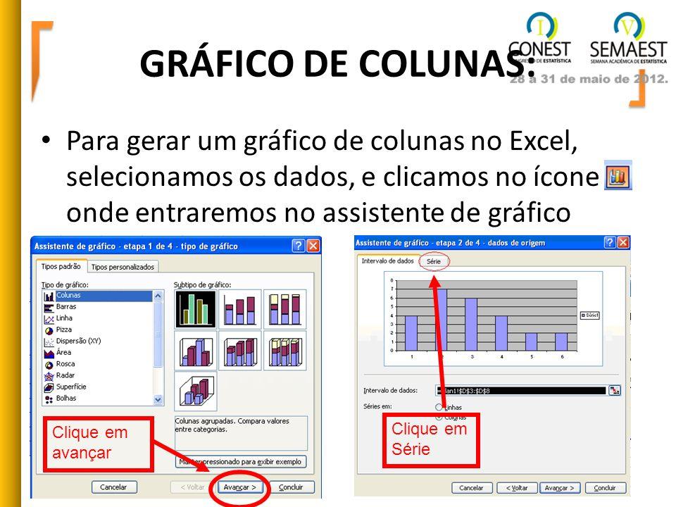 GRÁFICO DE COLUNAS: Para gerar um gráfico de colunas no Excel, selecionamos os dados, e clicamos no ícone onde entraremos no assistente de gráfico Cli