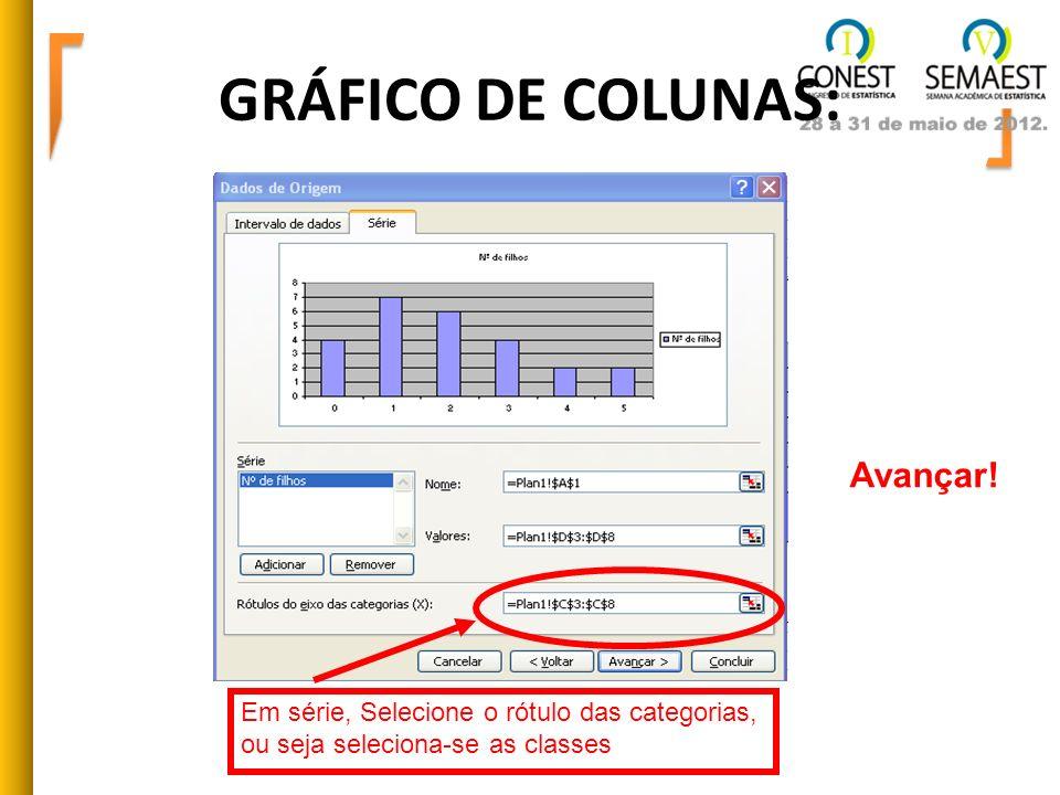 GRÁFICO DE COLUNAS: Em série, Selecione o rótulo das categorias, ou seja seleciona-se as classes Avançar!