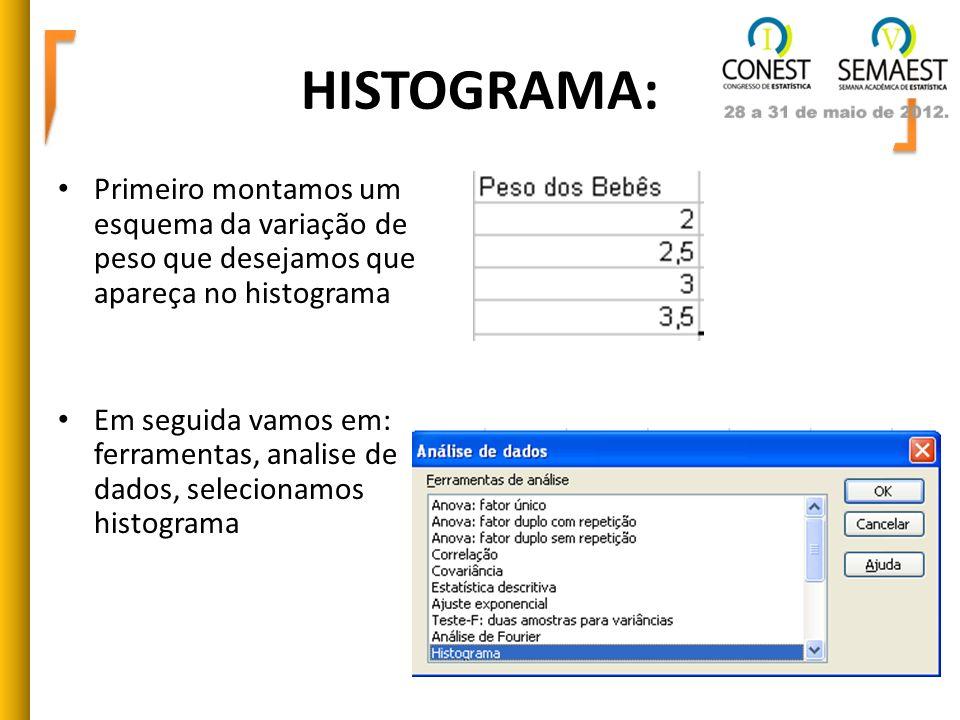 HISTOGRAMA: Primeiro montamos um esquema da variação de peso que desejamos que apareça no histograma Em seguida vamos em: ferramentas, analise de dado