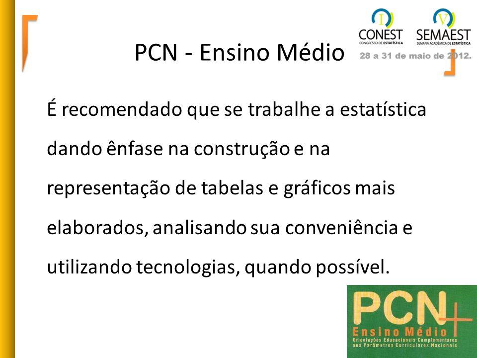 PCN - Ensino Médio É recomendado que se trabalhe a estatística dando ênfase na construção e na representação de tabelas e gráficos mais elaborados, an