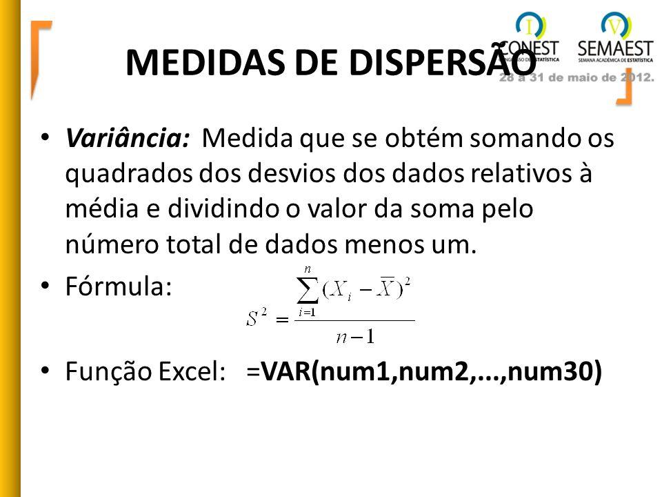 MEDIDAS DE DISPERSÃO Variância: Medida que se obtém somando os quadrados dos desvios dos dados relativos à média e dividindo o valor da soma pelo núme