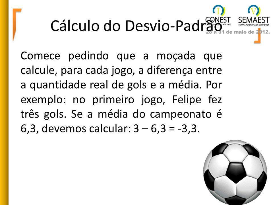 Cálculo do Desvio-Padrão Comece pedindo que a moçada que calcule, para cada jogo, a diferença entre a quantidade real de gols e a média. Por exemplo: