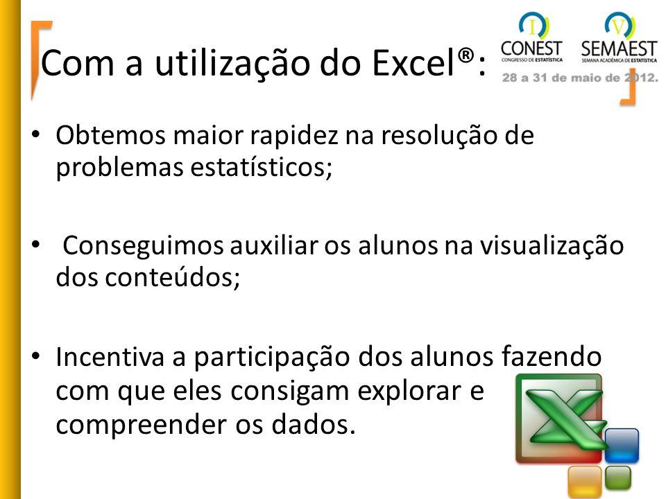 Com a utilização do Excel®: Obtemos maior rapidez na resolução de problemas estatísticos; Conseguimos auxiliar os alunos na visualização dos conteúdos