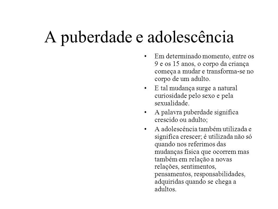 A puberdade e adolescência Em determinado momento, entre os 9 e os 15 anos, o corpo da criança começa a mudar e transforma-se no corpo de um adulto. E