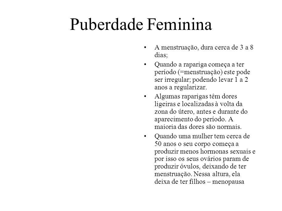 Puberdade Feminina A menstruação, dura cerca de 3 a 8 dias; Quando a rapariga começa a ter período (=menstruação) este pode ser irregular; podendo lev