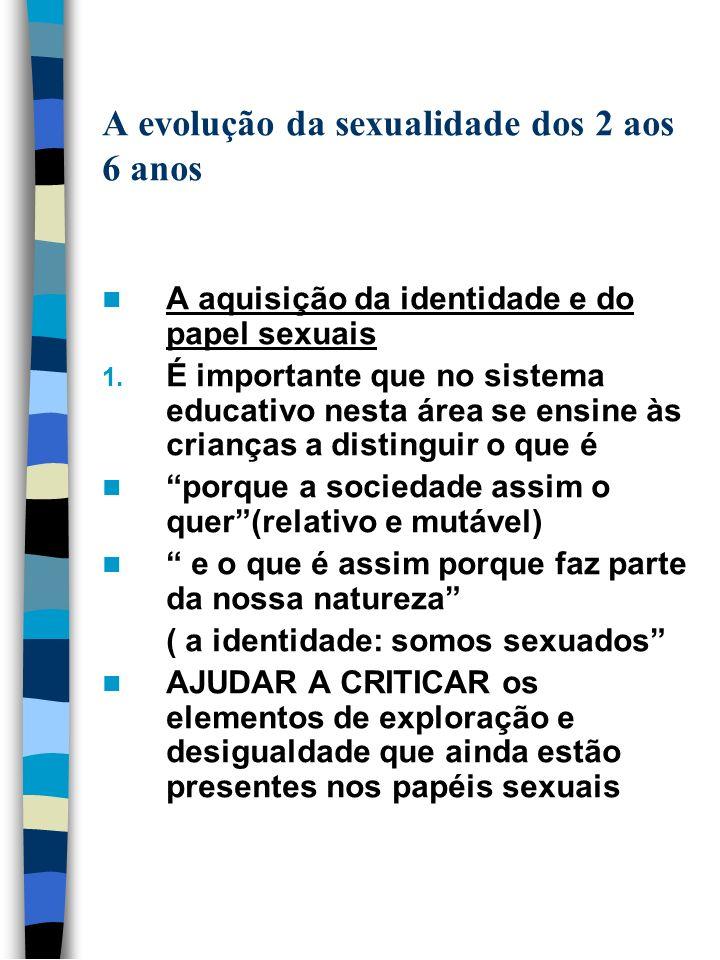 A evolução da sexualidade dos 2 aos 6 anos A aquisição da identidade e do papel sexuais 1. É importante que no sistema educativo nesta área se ensine