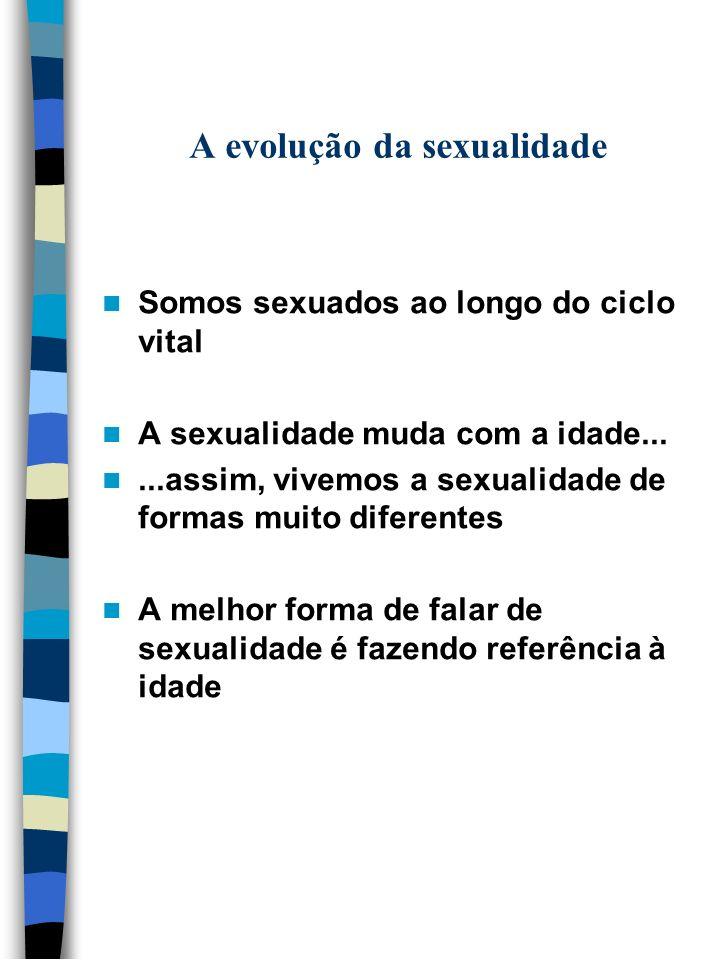 A evolução da sexualidade Somos sexuados ao longo do ciclo vital A sexualidade muda com a idade......assim, vivemos a sexualidade de formas muito dife