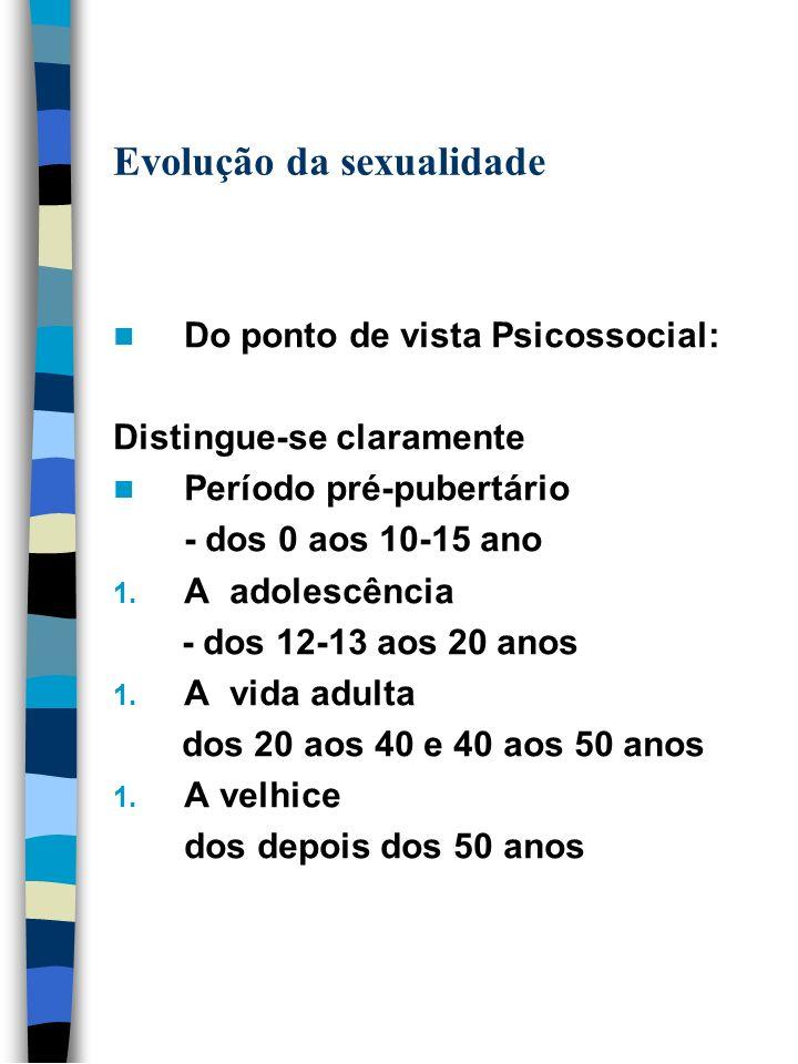 Evolução da sexualidade Do ponto de vista Psicossocial: Distingue-se claramente Período pré-pubertário - dos 0 aos 10-15 ano 1. A adolescência - dos 1