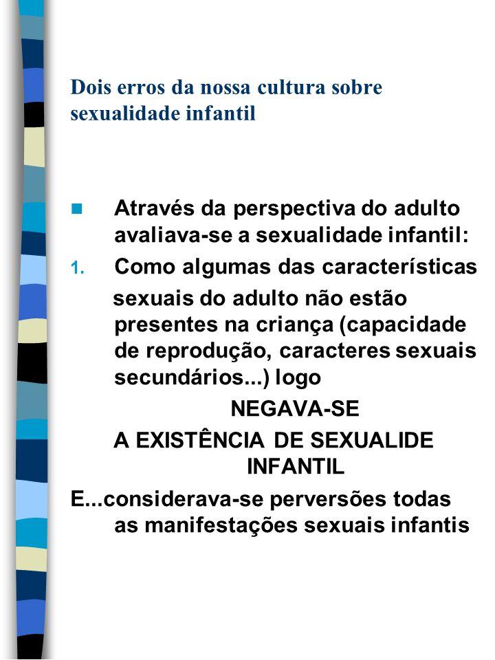 Dois erros da nossa cultura sobre sexualidade infantil Através da perspectiva do adulto avaliava-se a sexualidade infantil: 1. Como algumas das caract