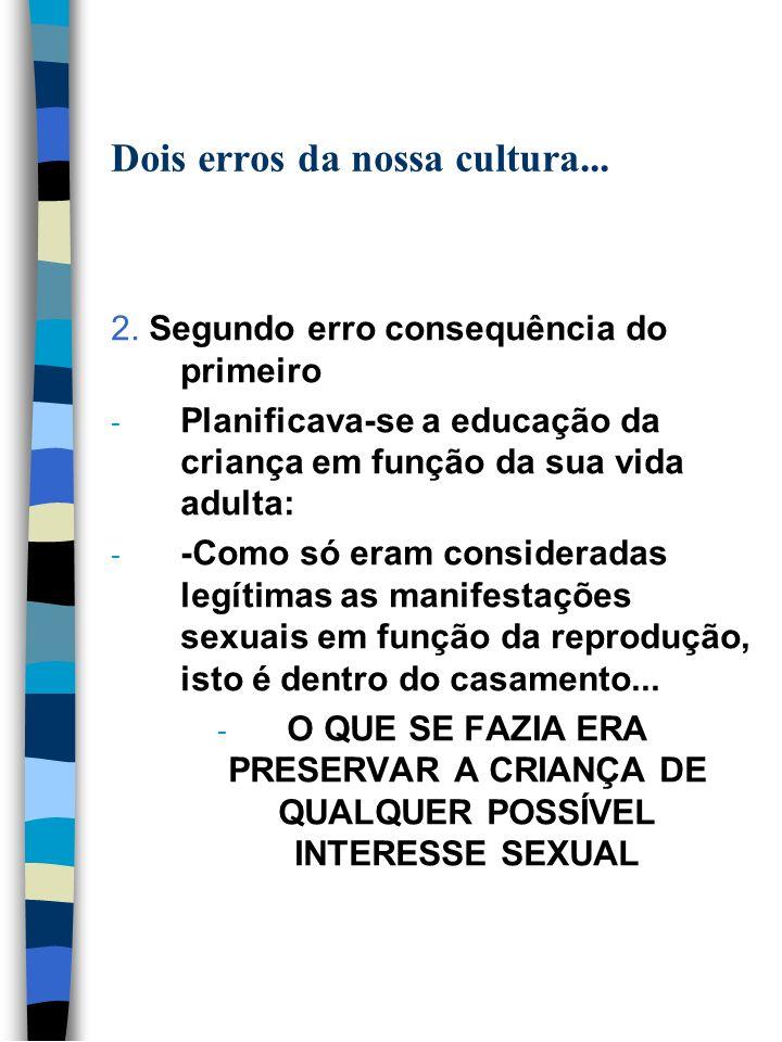 Dois erros da nossa cultura... 2. Segundo erro consequência do primeiro - Planificava-se a educação da criança em função da sua vida adulta: - -Como s