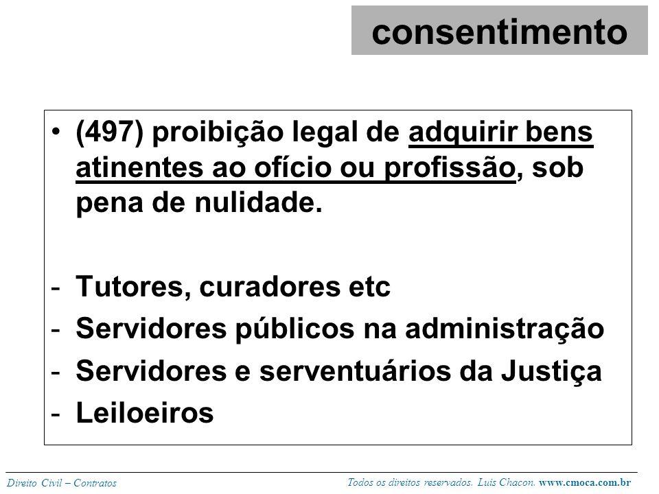 Todos os direitos reservados. Luis Chacon. www.cmoca.com.br Direito Civil – Contratos (496) é anulável a venda de ascendente a descendente sem que os