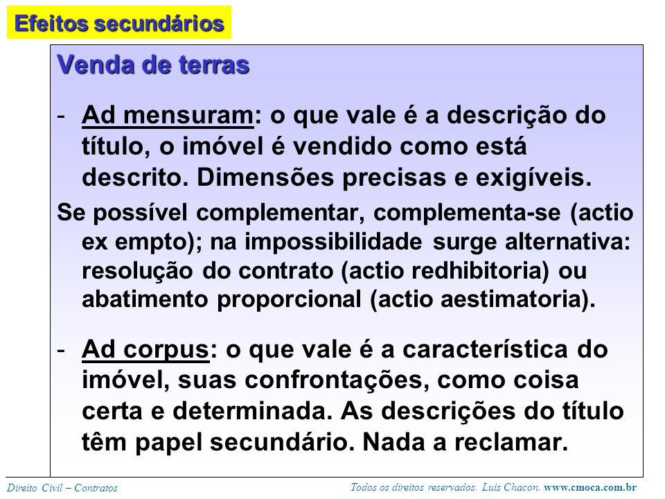 Todos os direitos reservados. Luis Chacon. www.cmoca.com.br Direito Civil – Contratos Venda de universalidade (ex. rebanho, biblioteca): o objeto é o
