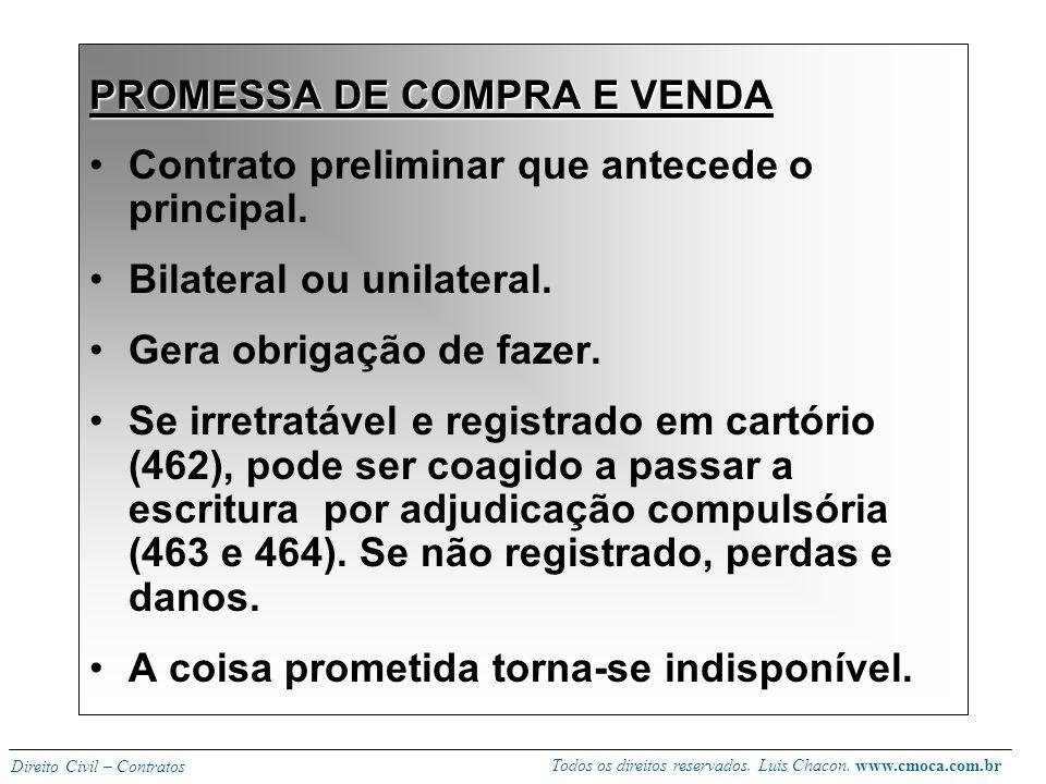 Todos os direitos reservados. Luis Chacon. www.cmoca.com.br Direito Civil – Contratos Repartição das despesas -despesas da tradição com o vendedor e d