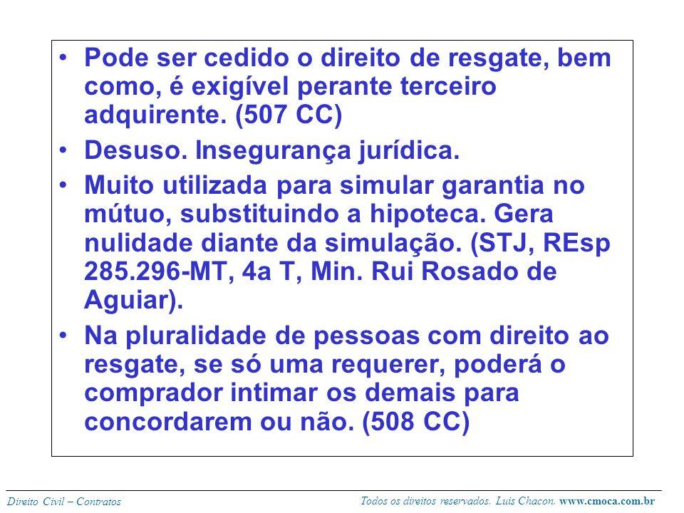 Todos os direitos reservados. Luis Chacon. www.cmoca.com.br Direito Civil – Contratos Retrovenda Faculdade que se reserva o vendedor de reaver o imóve