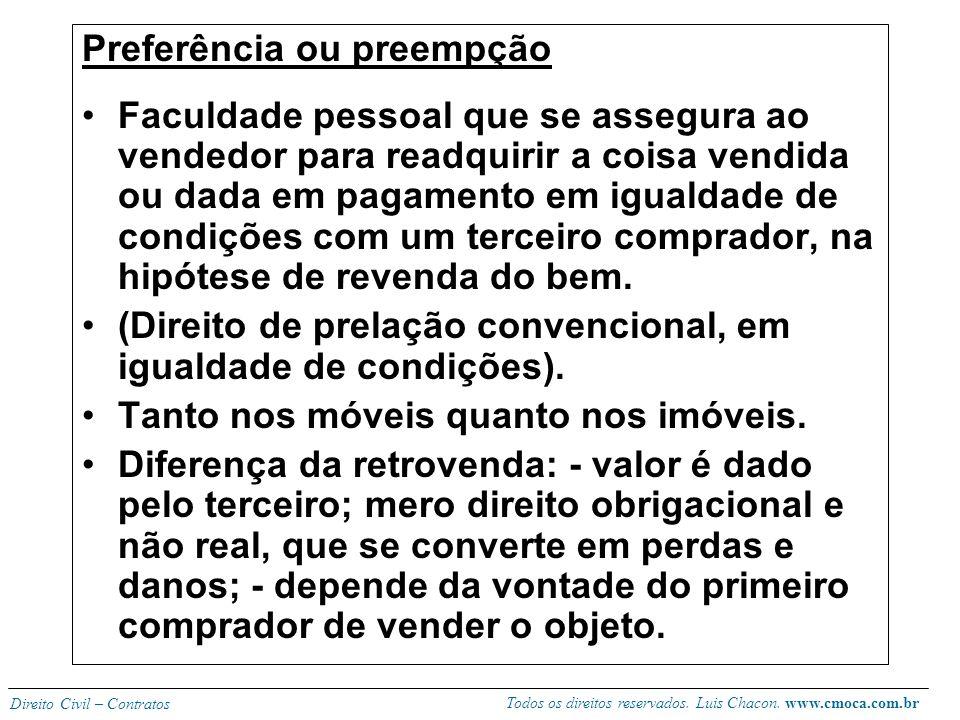 Todos os direitos reservados. Luis Chacon. www.cmoca.com.br Direito Civil – Contratos Venda sujeita a prova O comprador receberá a coisa com suspensão