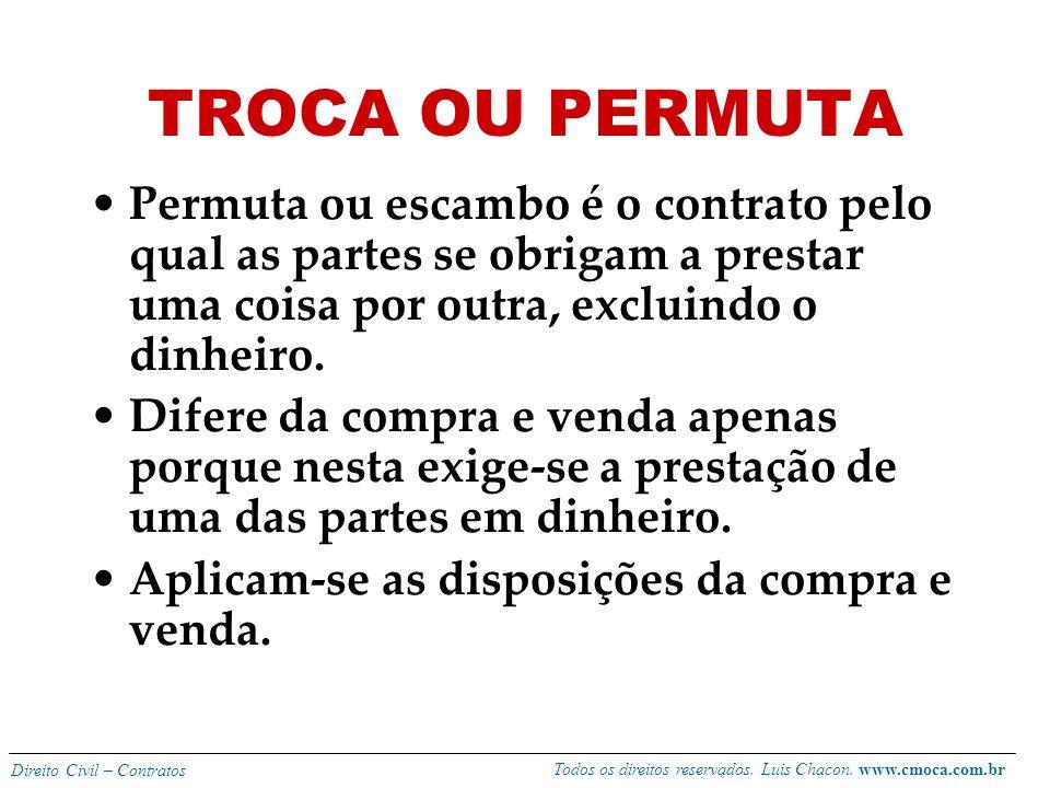 Todos os direitos reservados. Luis Chacon. www.cmoca.com.br Direito Civil – Contratos Se ocorrer sem o seu conhecimento converte-se em perdas e danos,