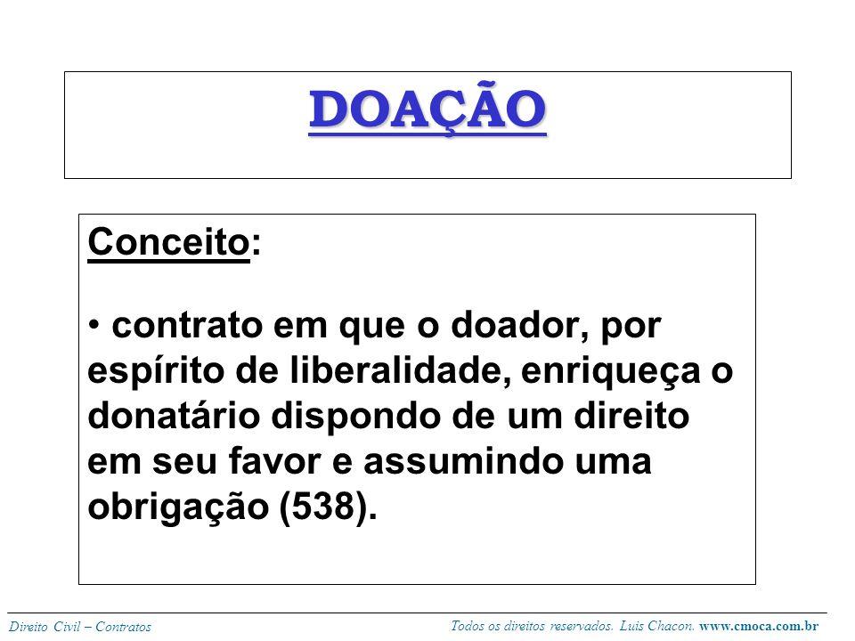 Todos os direitos reservados. Luis Chacon. www.cmoca.com.br Direito Civil – Contratos TROCA OU PERMUTA Permuta ou escambo é o contrato pelo qual as pa