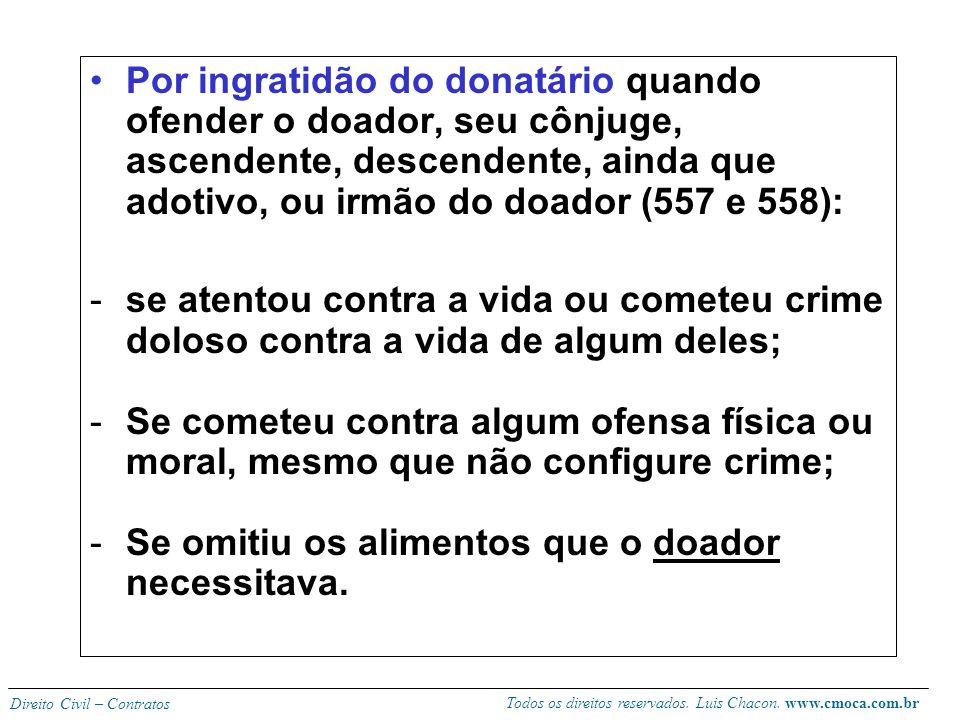 Todos os direitos reservados. Luis Chacon. www.cmoca.com.br Direito Civil – Contratos HIPÓTESES DE REVOGAÇÃO (555, 556): -Motivos comuns aos contratos