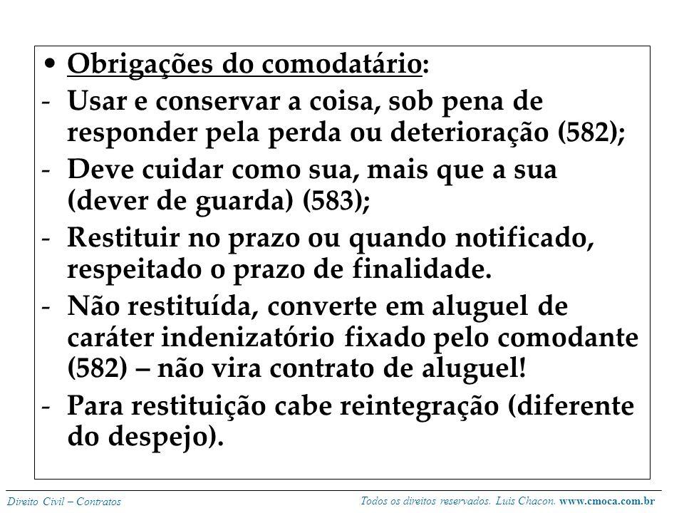 Todos os direitos reservados. Luis Chacon. www.cmoca.com.br Direito Civil – Contratos Características gerais: -unilateral, gratuito, real (traditio),