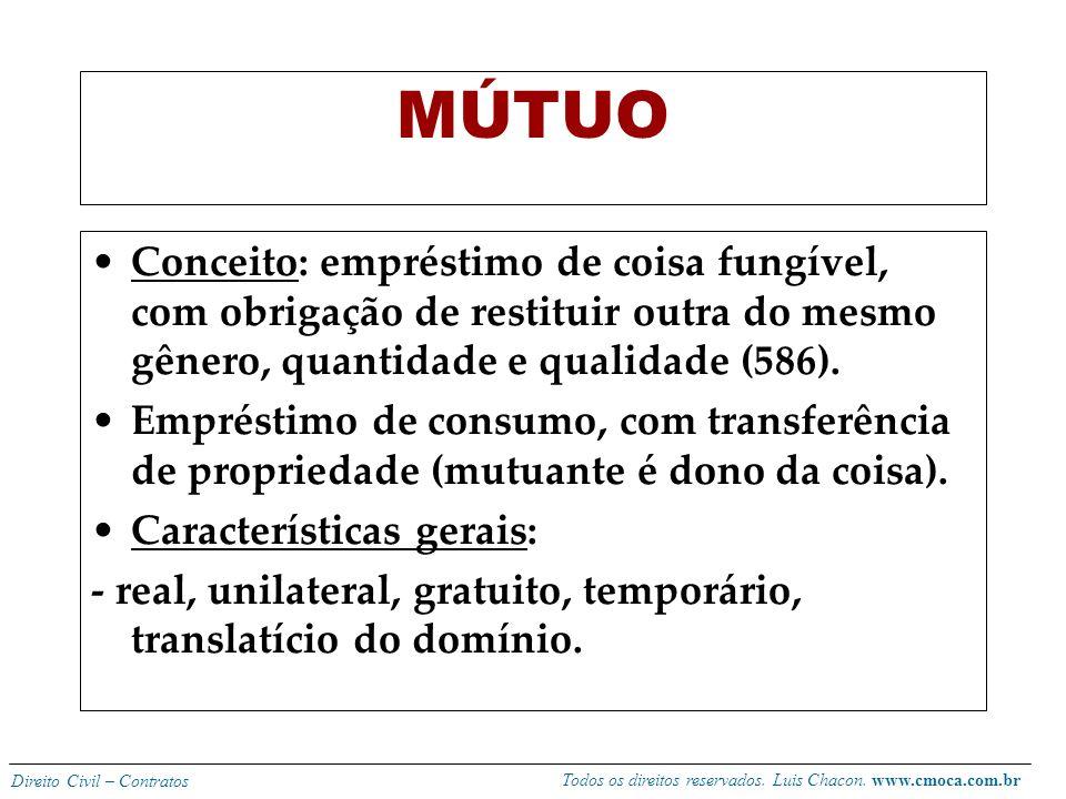 Todos os direitos reservados. Luis Chacon. www.cmoca.com.br Direito Civil – Contratos Obrigações do comodante: -reembolsar as despesas extraordinárias